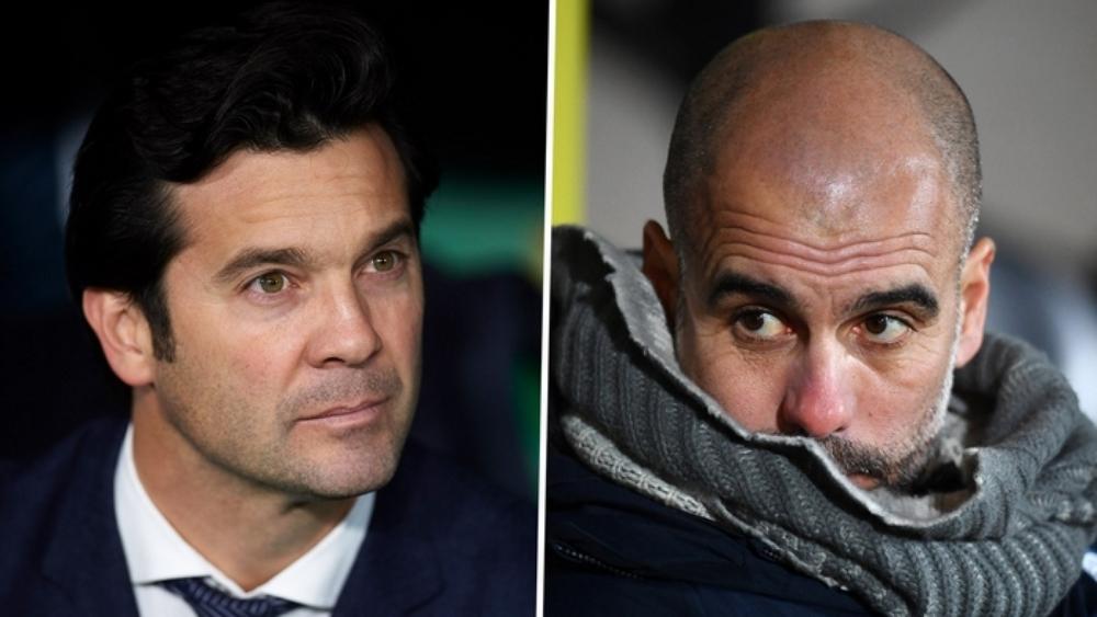 مدرب مانشستر سيتي بيب غوارديولا ومدرب ريال مدريد سانتياغو سولاري